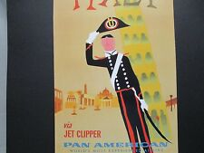 Pan American Airline  Travel Poster Italy  From American Express Travel Office