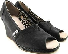 Toms Women Wedge Heels Canvas Size 6 W Black Thee Inches Heels Padded Insoles.