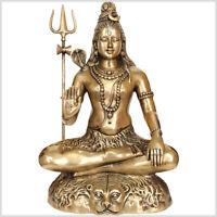 Sitzender Shiva 58cm 16kg Messing - Gold Nataraja Hinduismus Ganesha Natraja
