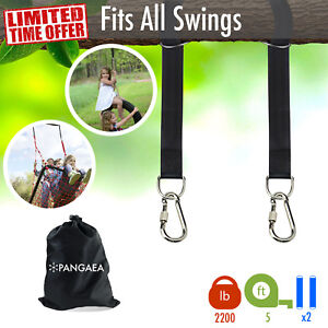 [Set of 2] 5FT 2200LB Tree Swing Hanging Hammock Straps Kit Nylon Carabiners
