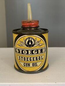 Very Rare Antique Vintage Stoeger Gun Oil Can Tin Oiler Stoegerol Stoeger Arms