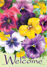 Garden Flag, Positively Pansies, Floral, Flowers, Welcome, Double Sided, 2 Sided