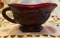 Avon 1876 Cape Cod Ruby Red Footed Sauce Boat