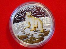 2014 Iconic Polar Bear $20 Fine 99.99% Silver 1 Oz Colour Coin