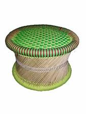 Soni Art Stool Handicraft Green and Red Color Muddi Small Size Green Round