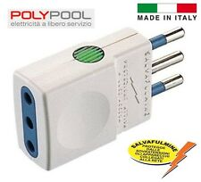 "SPINA PRESA SALVAFULMINE 10A  ""POLYPOOL"" MADE IN ITALY -PROTEZ. DA SOVRATENSIONI"