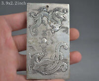 China's old handmade exquisite decoration - longfeng miao silver sculpture
