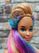 (8217) Barbie Doll Made to Move Articulated Rainbow Hair Long Earings Nude