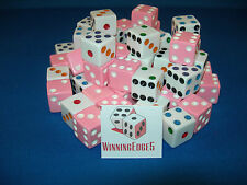 NEW 12 ASSORTED OPAQUE DICE 16mm PINK  AND WHITE WITH COLOR PIPS 6 OF EACH COLOR
