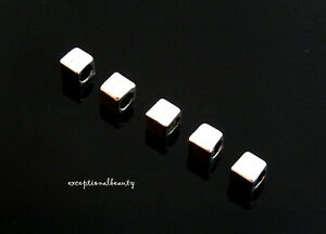 100 Tibetan Antiqued Silver 4mm Square Box Cube Spacer Accent Beads 2.7mm Hole