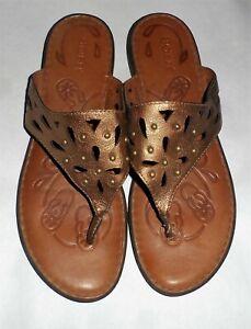 Born Leather Gold Metallic Stud Slip On Thong Flat Sandals 9