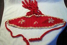 Vintage Child's Hand Crochet Red & White Snowflake w/ Curls Chin Tie Winter Hat
