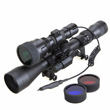 Tactical Night Vision Hunting Red Laser 3-9X Rifle Scope CREE C8 Flashlight Set