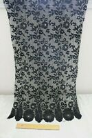 "Lovely French Black Antique Floral Silk Chantilly Lace Panel~L-40"" X W-23"""