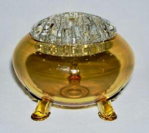 VIKING ~ Vintage 2-Pc Glass ROSE BOWL w/FLOWER FROG HOLDER (10 Amber) ~ USA