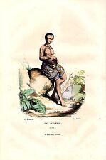 GRAVURE COLORIEE  A LA MAIN VERS 1850 VOYAGE DE COOK ILES SANWICH FEMME