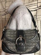 Coach Black Soho Signature Pocket Flap Hobo Purse Bag No. G0793-F10295