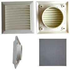"""White Louvred grille with flyscreen 100mm 4"""" round spigot - Domus wall vent"""