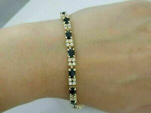 11 Ct Oval Cut Sapphire Diamond Gorgeous Tennis Bracelet 14K Yellow Gold Finish