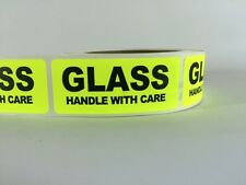 500 1x3 GLASS HANDLE WITH CARE Labels Stickers NEON YELLOW FLUORESCENT FRAGILE