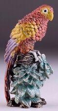 Keren Kopal Colorful Bejeweled Parrot Perched on Branch w Beautiful Blue Flowers