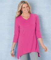 Women's V-Neck Sharkbite Tunic Shirt Top - Pink Peony Large