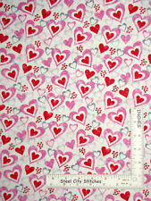 Wedding Fabric Wreath fabric floral fabric By The Metre Hearts Fabric Love Fabric Cotton Craft Fabric Pink Fabric leaves Fabric