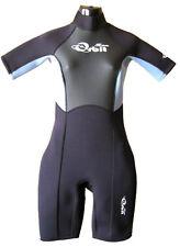 Short Wetsuit Spring Suit for Women 2mm Back Zip, Lt Blue/Black Size: 14.
