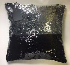 US Ship))Black / Silver Sequin Pillow Mermaid Magic Glitter Reversible  16'' #14