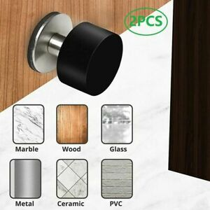 2x Black Self-Adhesive Rubber Stopper Heavy Duty Stainless Steel Door Stops