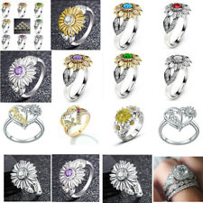US 12 Colors Charm Jewelry Ladies' Rhinestone Accessory Sunflower Party Rings