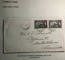 1941 Forest Reserve Trinidad & Tobago Cover To Lloydminster Canada