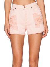 Minkpink Almost Famous Pink Slasher Distressed Ripped Denim Shorts  M