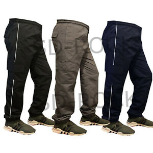 Mens New Elasticated Combat Cargo Work lightweight Casual Trousers Bottoms
