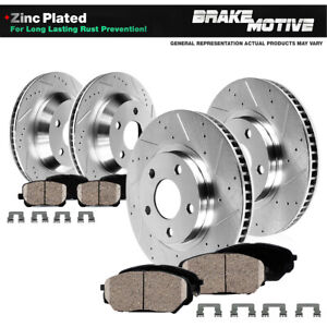 For Stealth 3000GT VR4 AWD Front Rear Drill Slot BRAKE ROTORS AND CERAMIC Pads