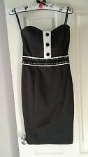 Ladies Strapless Black & White Pin Up Tux Cocktail Dress Size 10 Brand New