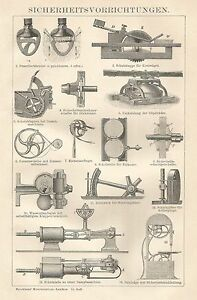 B0397 Device Safety Security - Xylograph Period - 1903 Vintage Engraving