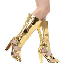 New Gold Knee High Heel peep toe strappy gladiator zipper Sandals boots Sz 6