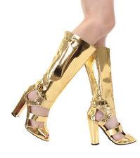 New Gold Knee High Heel peep toe strappy gladiator zipper Sandals boots Sz 6.5