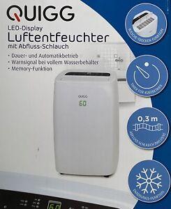 QUIGG LED Display Luftentfeuchter mit Abfluss-Schlauch Trockner Funktion Enteisu