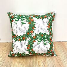 990.Christmas Wreath 100% Cotton Cushion Cover Various sizes