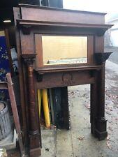c1880 fancy victorian fireplace mantle Quartersawn oak 79� x 55�w beveled mirror