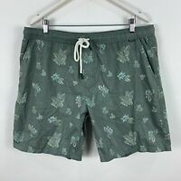 Depactus Mens Board Shorts 40 Green Floral Elastic Waist Drawstring Pockets