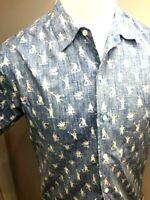 Vtg. Reyn Spooner Hawaiian Traditionals Mens Med Sailor Print Blue Button Shirt