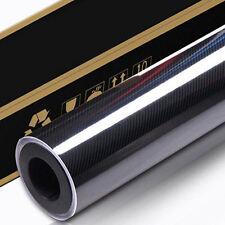 30CM x 1.51M 6D Gloss Black Carbon Fibre Fiber Vinyl Car Wrap 4D 5D  CF30x151