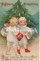 Vintage Ellen Clapsaddle postcard signed Tree with candles gifts and cheer
