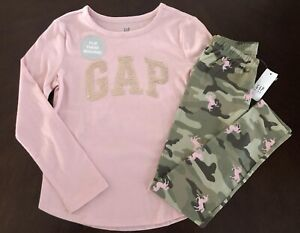 Gap Girl Pink Sequin Logo Top & Olive Camo Ponny Leggings 6 7 8 9 10 11 12 13