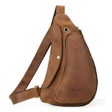 Vintage Men Real Leather Sling Bag Shoulder Bag Chest Pack One Strap Backpack