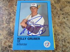 1986 TORONTO BLUE JAYS FIRE SAFETY KELLY GRUBER AUTOGRAPHED CARD