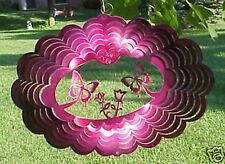 """Butterflies in Purple Oval (8"""" x 11"""" Approx) Metal Hanging Spinner (Made Usa)"""